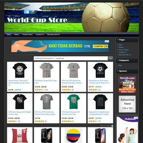 FIFA WORLD CUP Store Online Business Website For Sale! Amazon, Google Make Money