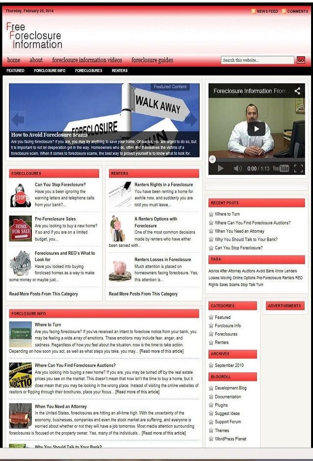 FORECLOSURE HELP WEBSITE BUSINESS FOR SALE! with TARGETED SEO CONTENT