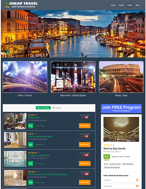 FULLY AUTOMATED HOTEL AND FLIGHT SEARCH ENGINE WEBSITE FOR SALE