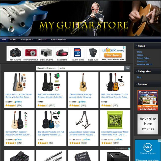 GUITAR STORE - Professionally Designed Full Function eCommerce Website For Sale!