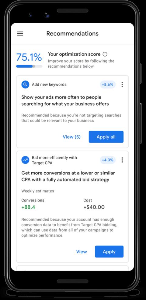 Google Ads App Now Displays Campaign Optimization Scores