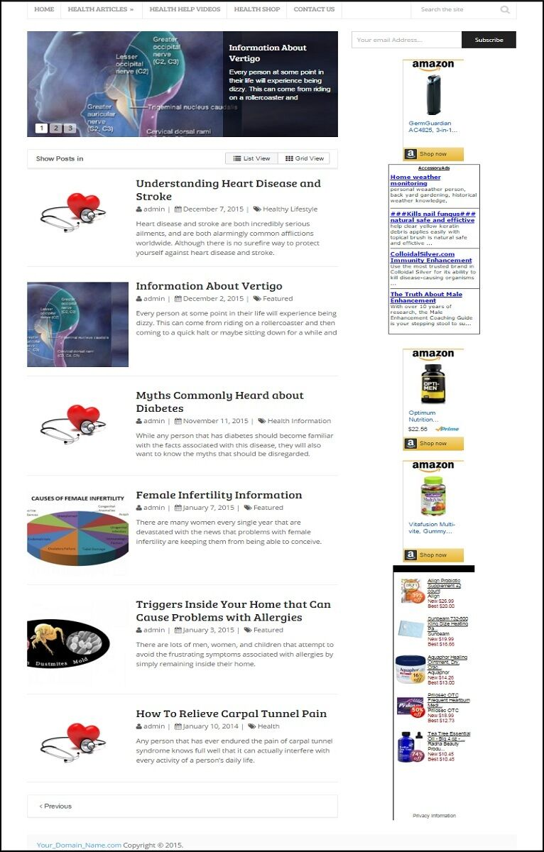 HEALTH CARE BLOG WEBSITE FOR SALE! RESPONSIVE MOBILE FRIENDLY DESIGN
