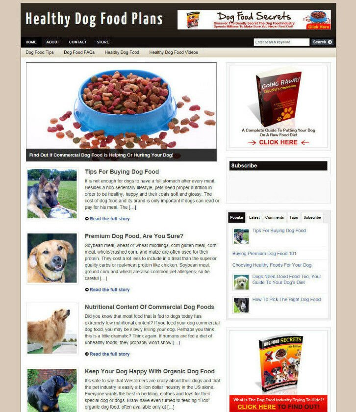 HEALTHY DOG FOOD AFFILIATE STORE / WEBSITE INCLUDES NEW DOMAIN