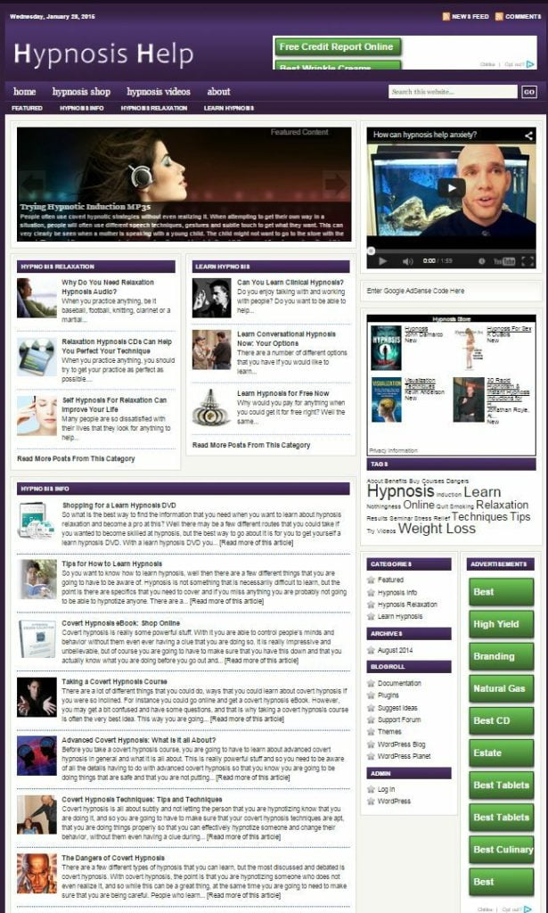HYPNOSIS SHOP WEBSITE and BLOG FOR SALE!