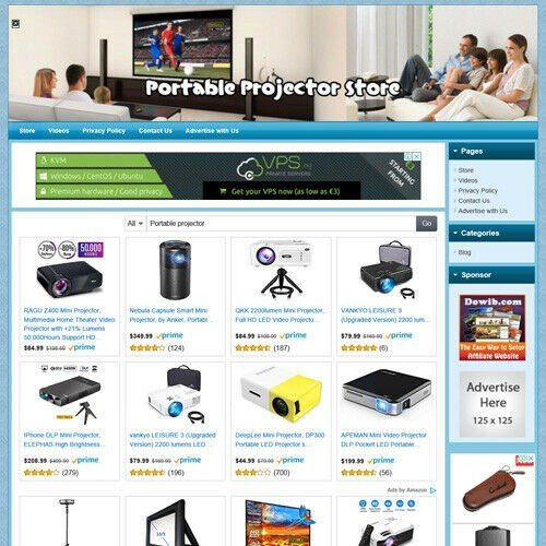 Home Theater Portable Projector Online Business Website For Sale! Work at Home!