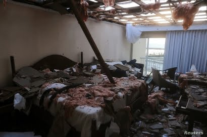 A hotel room in the aftermath of Hurricane Dorian on the Great Abaco island town of Marsh Harbour, Bahamas, September 4, 2019. REUTERS/Dante Carrer