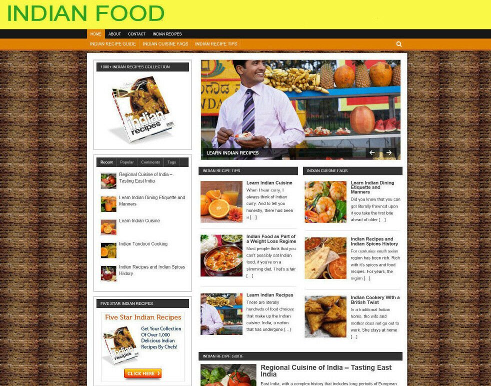 INDIAN COOKING BLOG / STORE / WEBSITE WITH AFFILIATES = VIDEO PAGES - DOMAIN