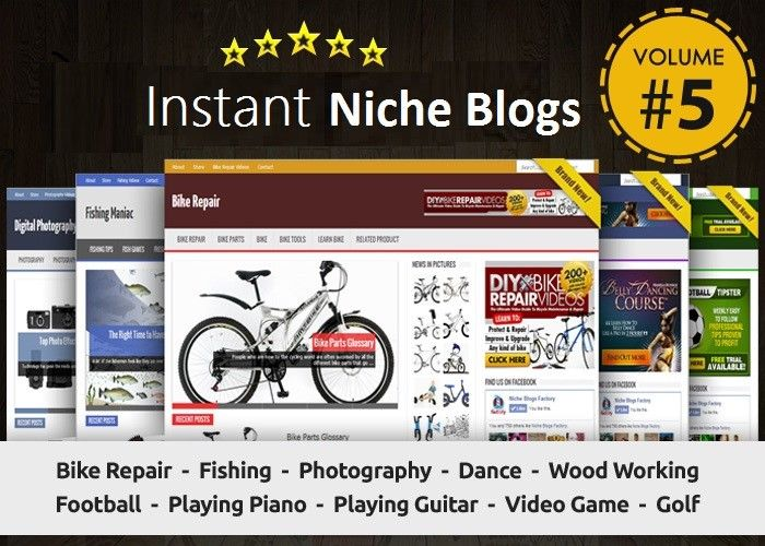 Instant Niche PLR Wordpress Blogs Package - VOLUME#5 - Ready to Business Adsense