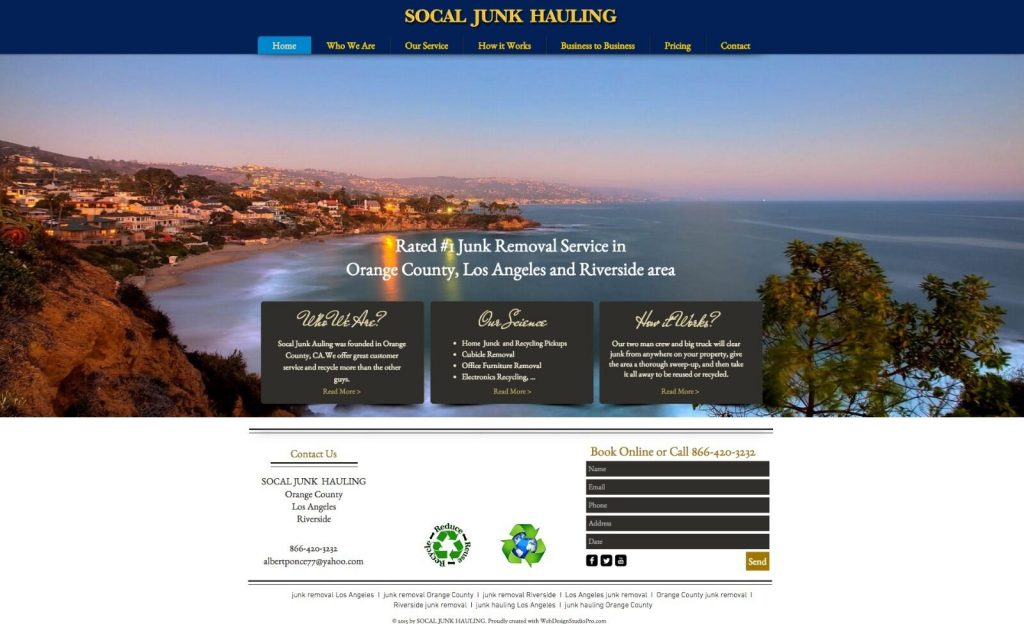 Junk Removal Web Design, Junk Hauling Website Design
