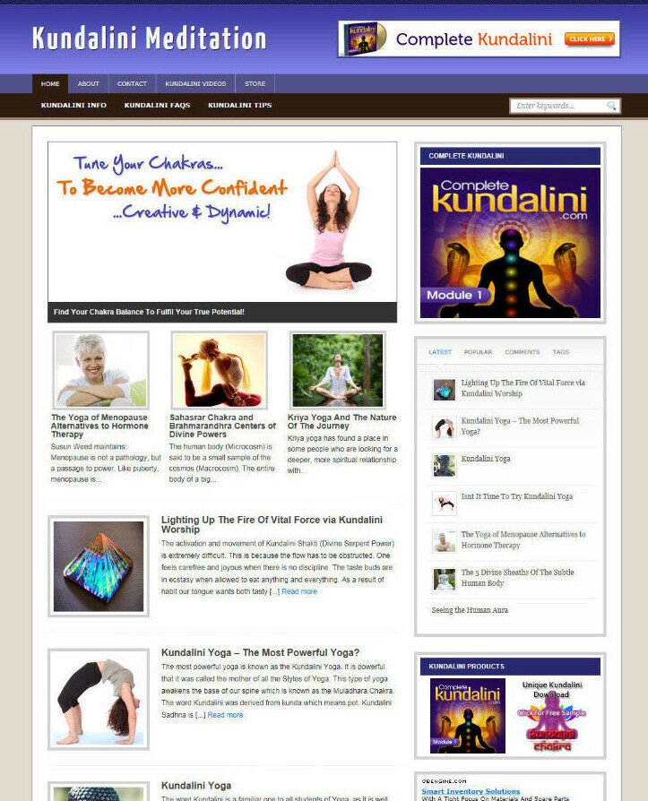 KUNDALINI MEDITATION WEBSITE & AFFILIATE STORE + FREE DOMAIN AND BANNERS
