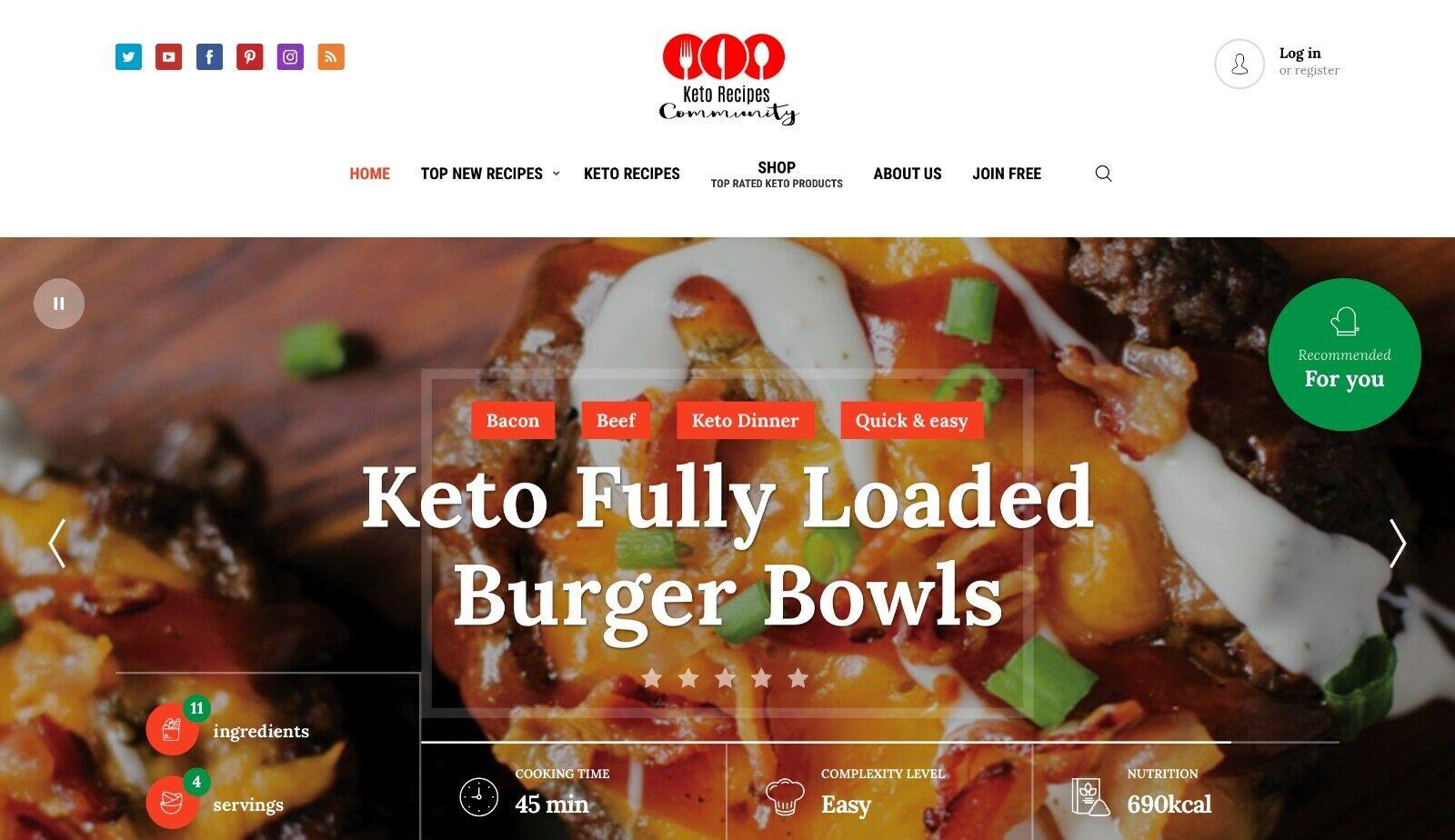 Keto Diet Recipe Community - Gorgeous Design - Unique Affiliate Turnkey Business