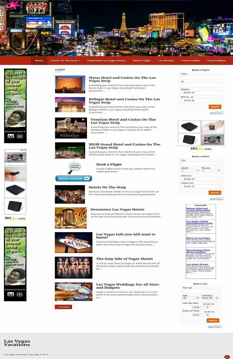 LAS VEGAS TRAVEL BOOKING WEBSITE FOR SALE! MOBILE FRIENDLY WEBSITE