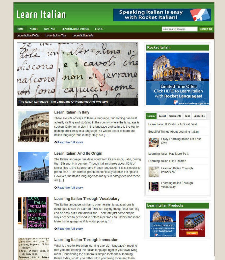 LEARN ITALIAN - BLOG & WEBSITE WITH AFFILIATES AND STORE + DOMAIN AND HOSTING