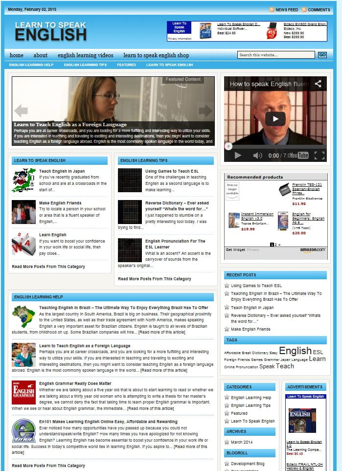 LEARN TO SPEAK ENGLISH BLOG WEBSITE BUSINESS FOR SALE! with TARGETED SEO CONTENT