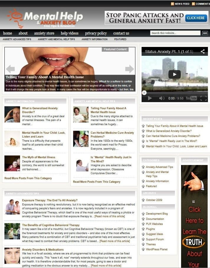 MENTAL HEALTH BLOG WEBSITE BUSINESS & DOMAIN FOR SALE! TARGETED CONTENT INCLUDED