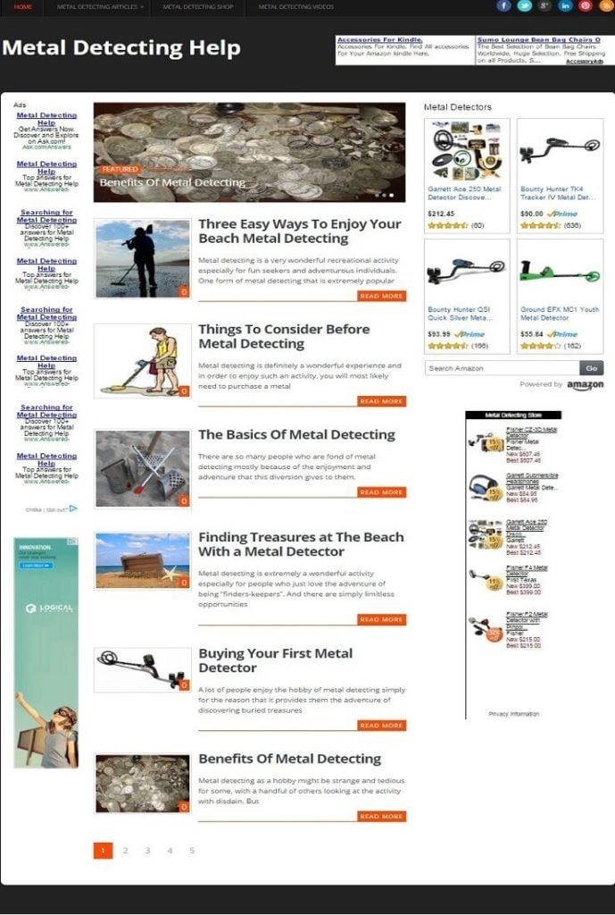 METAL DETECTING BLOG and METAL DETECTORS SHOP WEBSITE BUSINESS FOR SALE!