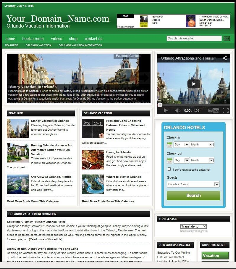 ORLANDO TRAVEL PLANNING WEBSITE BUSINESS FOR SALE! TARGETED CONTENT INCLUDED