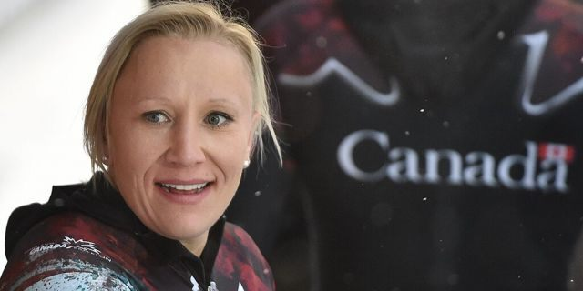 Canadian bobsledder Kaillie Humphries celebrates after her victory in the 2-person bobsleigh category at the world cup at the DKB ice track in Altenberg, Germany.