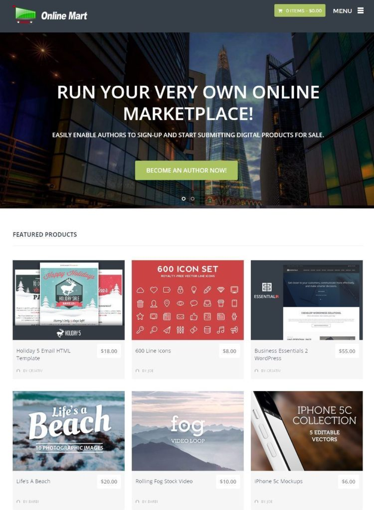 Online Digital Marketplace / Software Store Free Hosting + Installation