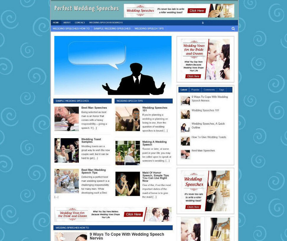 PERFECT WEDDING SPEECHES STORE WEBSITE WITH AFFILIATES + FREE DOMAIN - PRO THEME