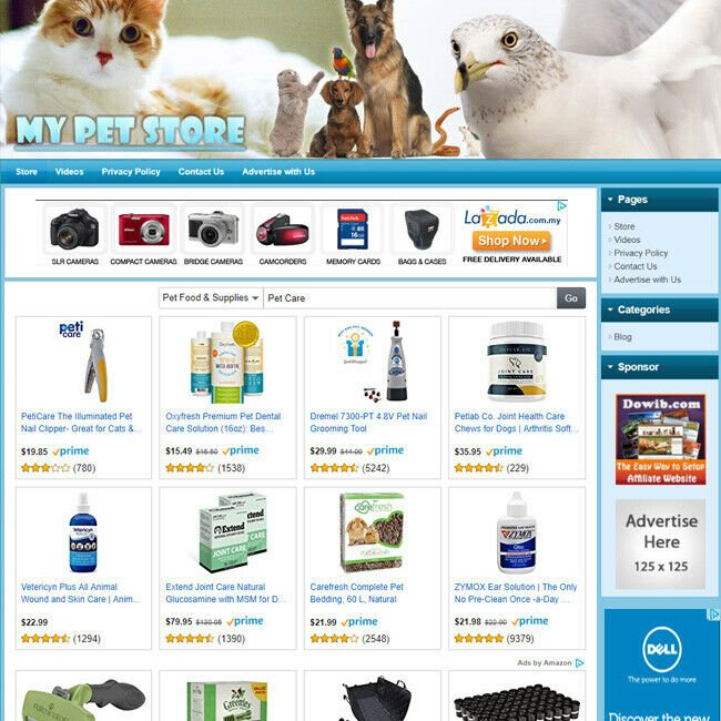 PET CARE SUPPLIES STORE - Online Affiliate Business Website For Sale Free Domain