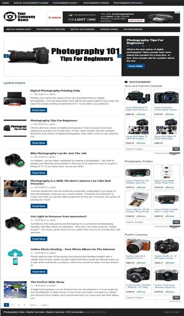 PHOTOGRAPHY and CAMERAS WEBSITE BUSINESS FOR SALE! MOBILE FRIENDLY