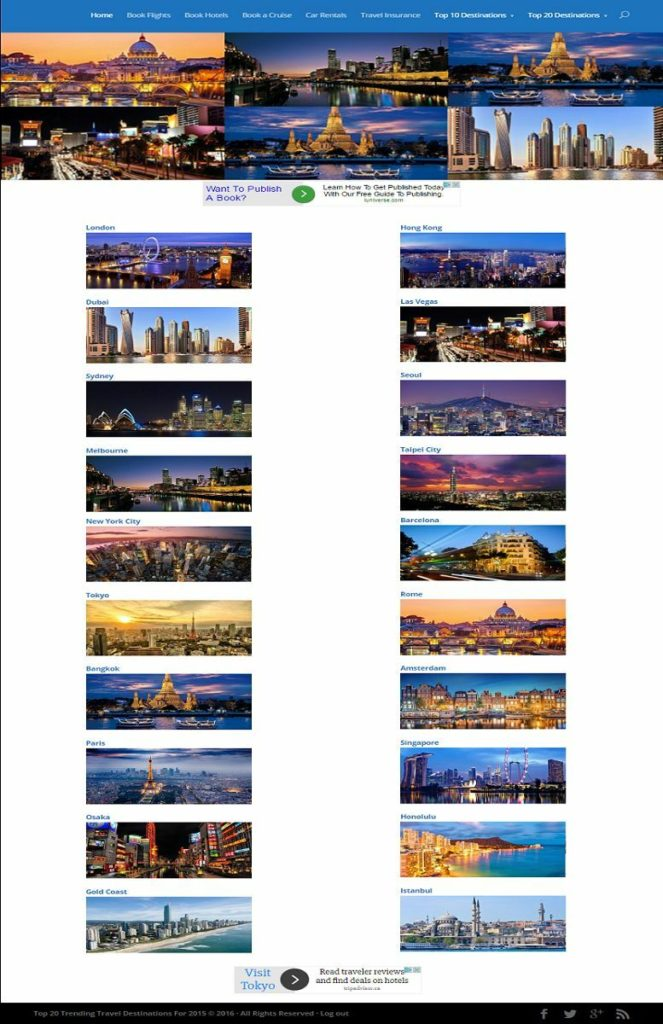 POPULAR TRAVEL DESTINATION WEBSITE BUSINESS FOR SALE! with TARGETED SEO CONTENT