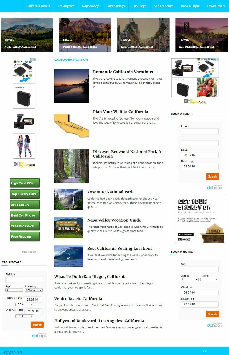PROFESSIONAL CALIFORNIA TRAVEL BOOKING WEBSITE FOR SALE!