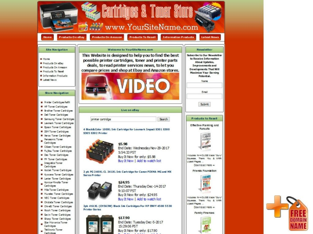 Printer Cartridges Printer Parts Store Turnkey Online Business Website For Sale