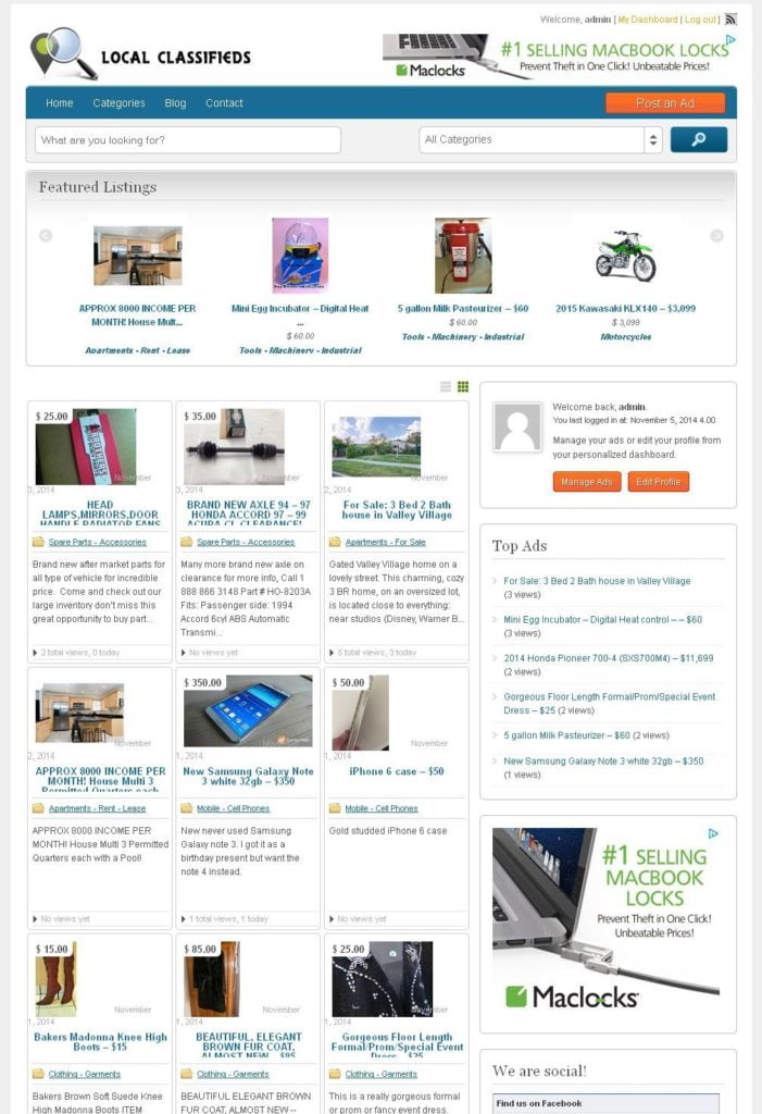 Professional Classifieds directory website
