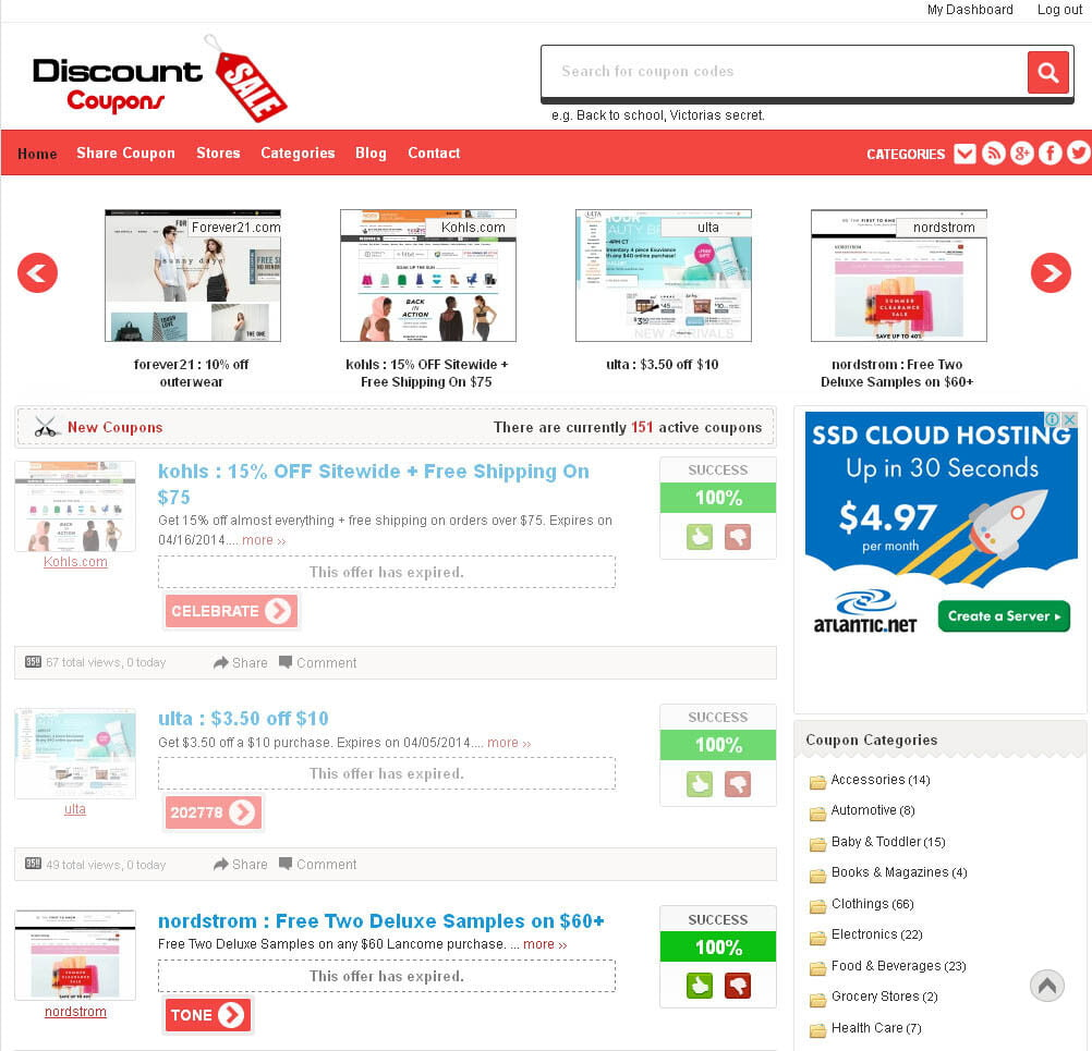 Professional Discount Coupons Website For Sale - FREE Hosting + SSL