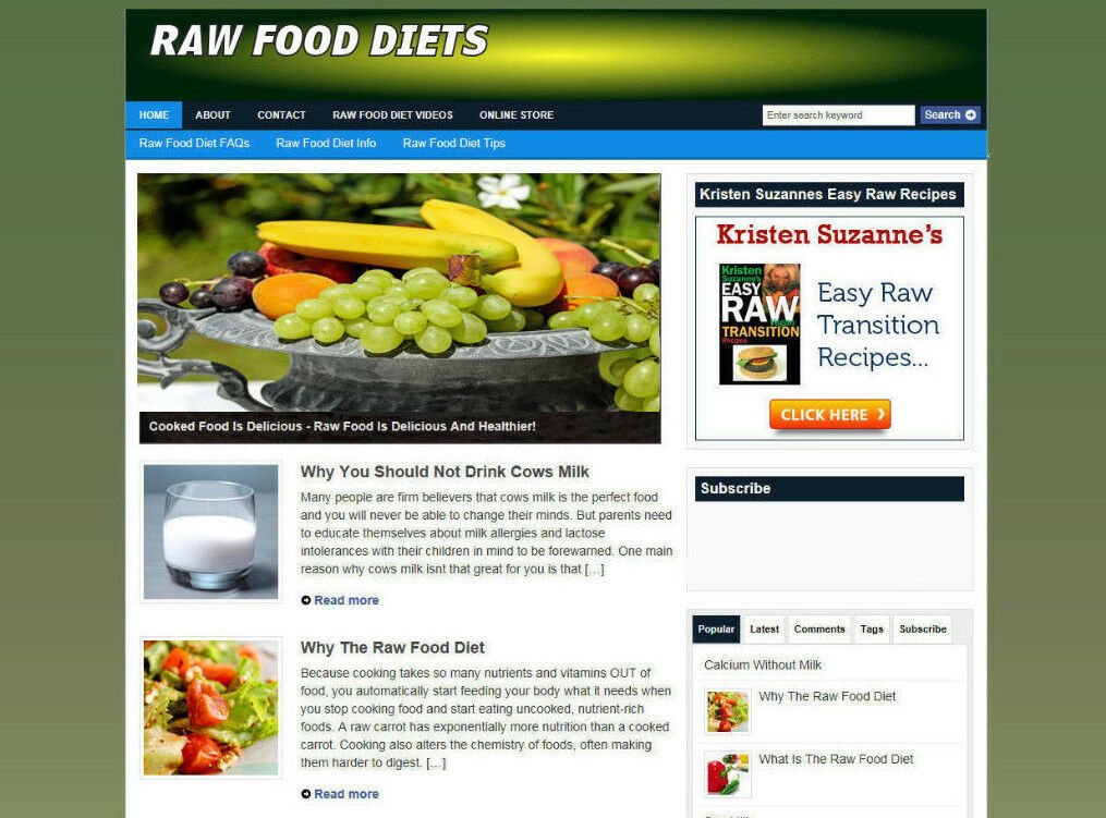 RAW FOOD DIETS STORE WEBSITE WITH AFFILIATES + FREE DOMAIN - PRO DESIGN