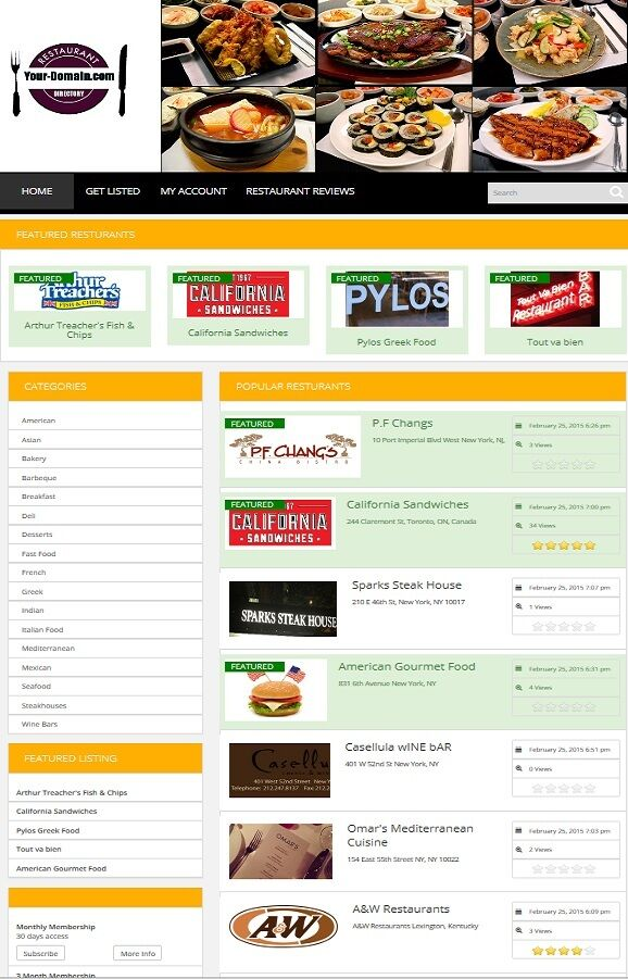 RESTAURANT DIRECTORY WEBSITE BUSINESS FOR SALE! MOBILE FRIENDLY WEBSITE