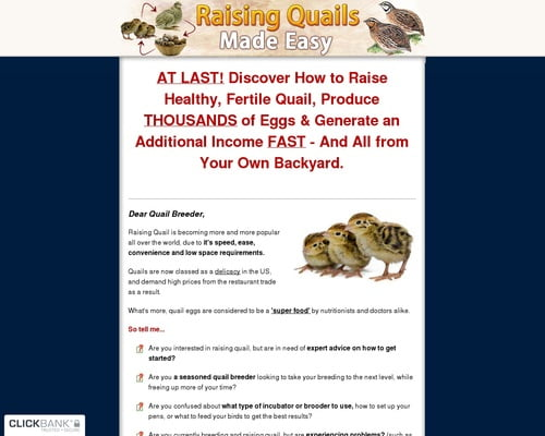 Raising Quail Made Easy - Brand New With A 7.39% Conversion Rate!