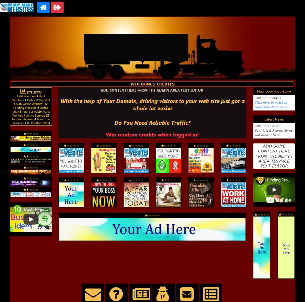 Ready Made Banner Traffic Hub Sell Ad Space Font Awesome Paypal Stripe IPN
