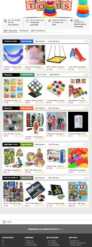 Ready made Dropshipping website Free hosting & set up - Kids Toys