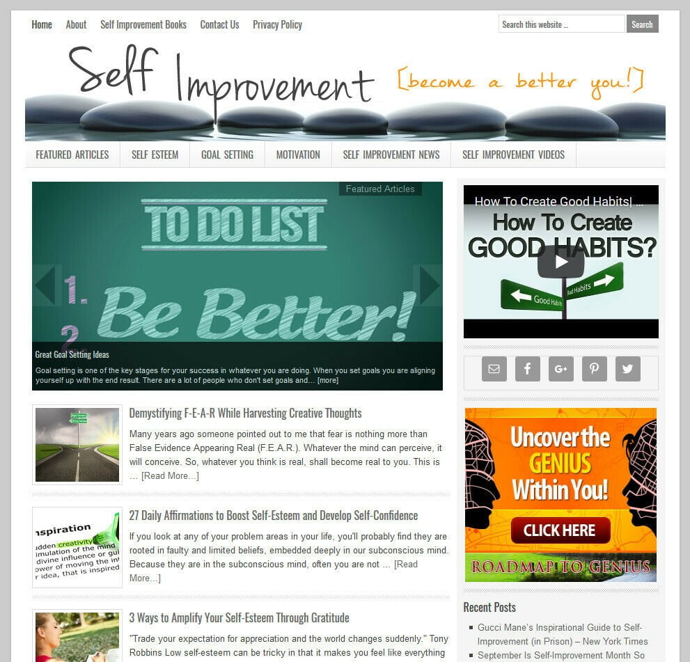 * SELF IMPROVEMENT * turnkey niche website business for sale w/ AUTO CONTENT