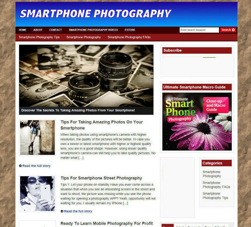 SMARTPHONE PHOTOGRAPHY TIPS AFFILIATE STORE / WEBSITE - PRO DESIGN - FREE DOMAIN