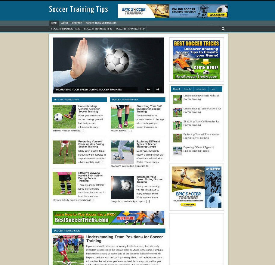 SOCCER TRAINING TIPS BLOG WEBSITE WITH AFFILIATES AND NEW DOMAIN + HOSTING