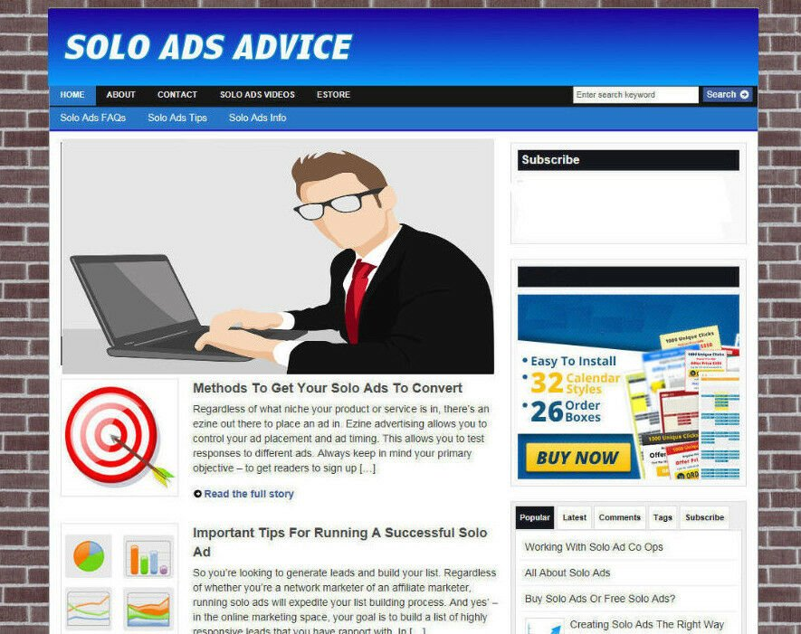 SOLO ADS TIPS WEBSITE WITH AFFILIATES + FREE DOMAIN & HOSTING - VIDEO P-AGES