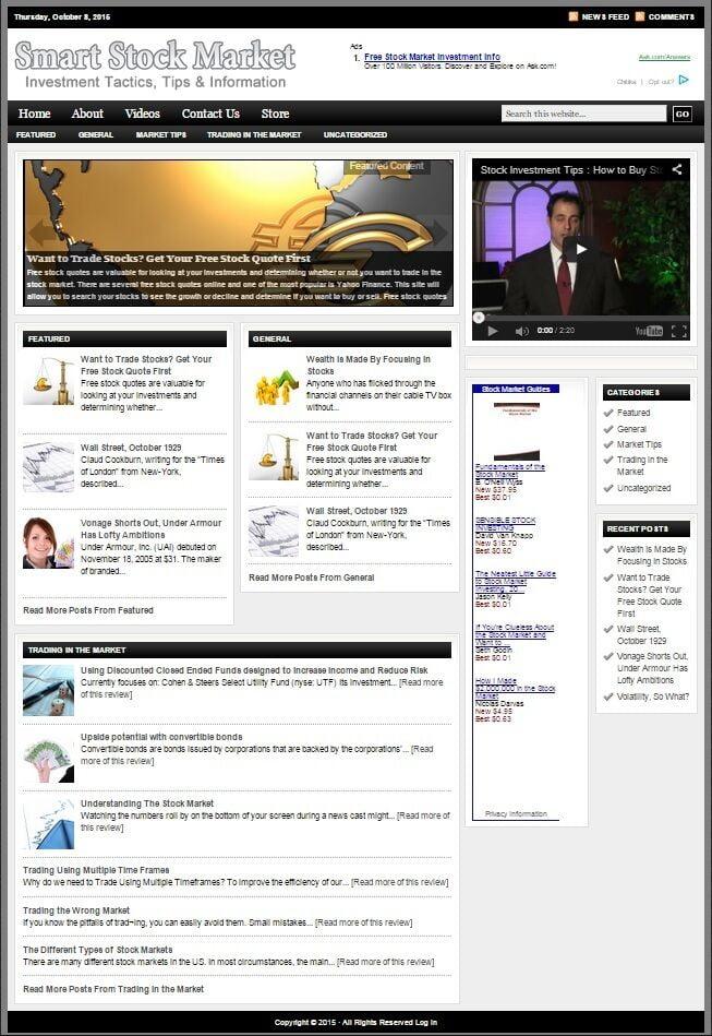 STOCK MARKET INVESTING BLOG WEBSITE BUSINESS FOR SALE! MOBILE FRIENDLY WEBSITE