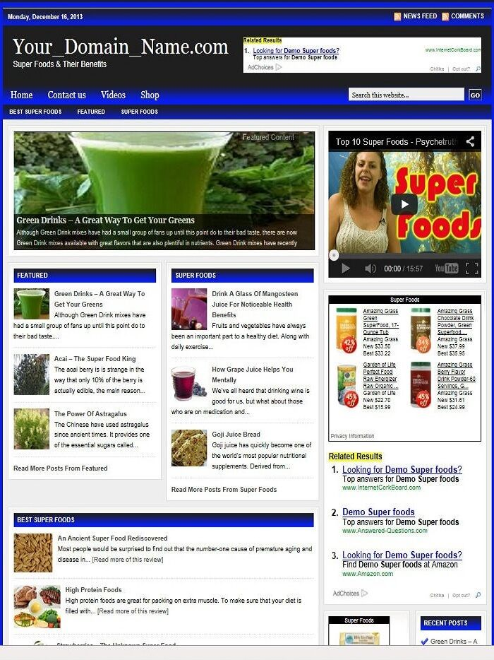 SUPER FOODS BLOG and SHOP WEBSITE BUSINESS FOR SALE! with TARGETED SEO CONTENT