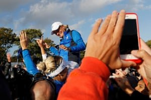 Team Europe captain Catriona Matthew celebrates after Europe win the Solheim Cup.