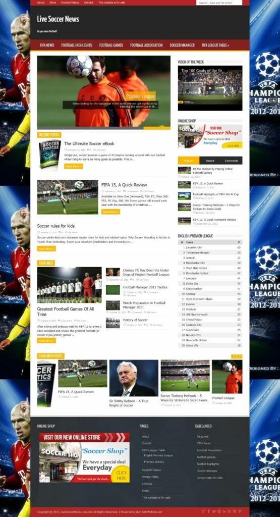 Sports soccer football niche website Blog Domain & ecommerce  livesoccernews.com
