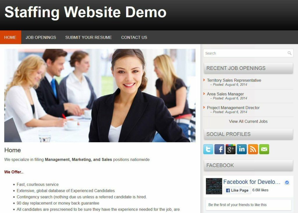 Staffing Web Site for Personnel / Staffing Firm