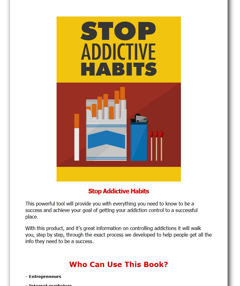 Stop Addictive Habits Business Website For Sale w/ Software
