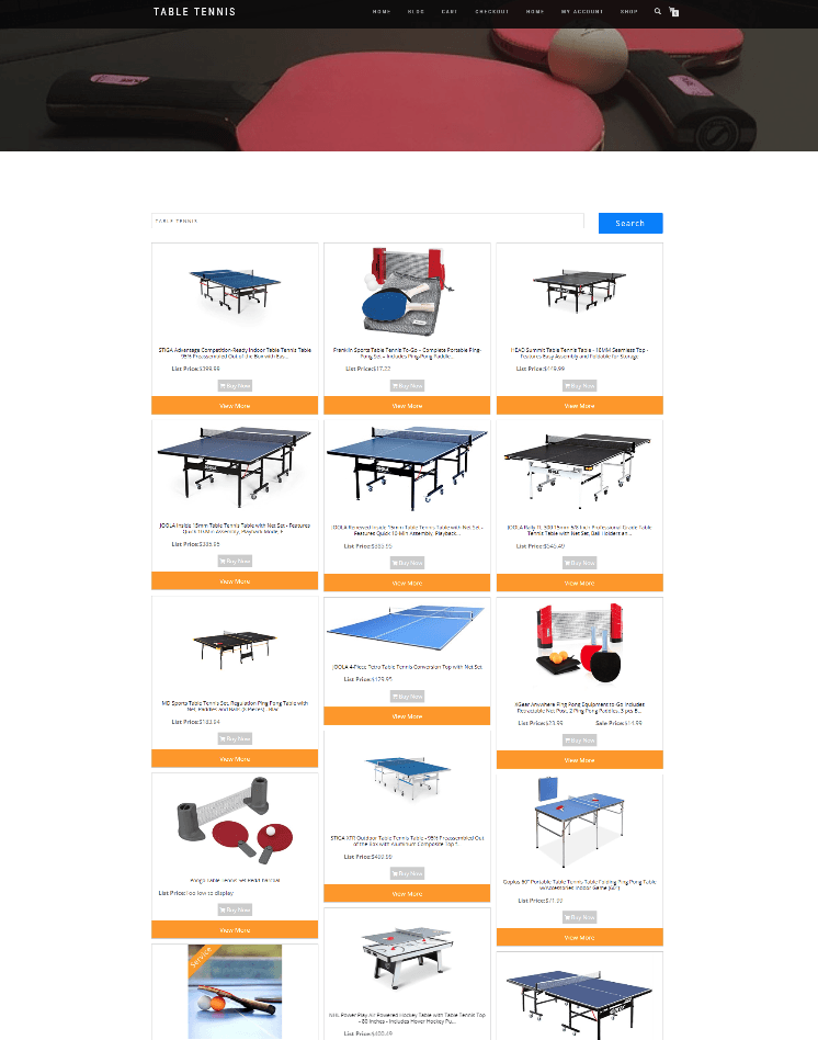 TABLE TENNIS AFFILIATE WEBSITE WITH NEW DOMAIN - FULLY STOCKED ECOMMERCE