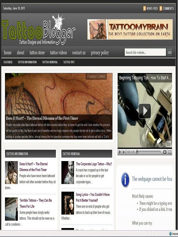 TATTOOS BLOG WEBSITE BUSINESS FOR SALE! with TARGETED SEO CONTENT