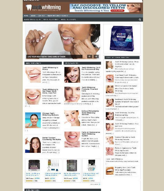 TEETH WHITENING STORE BLOG WEBSITE WITH AFFILIATES WITH NEW DOMAIN