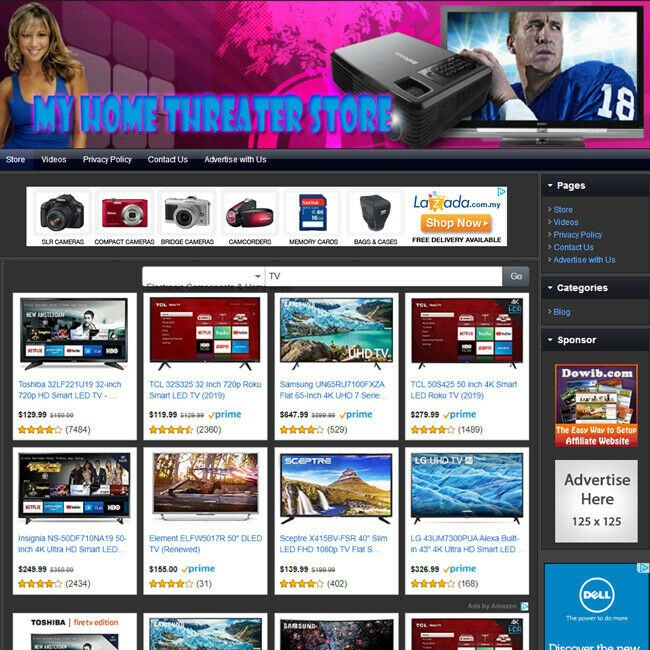 TELEVISION STORE - Online Affiliate Business Website For Sale With Free Domain!